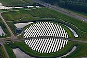 Nederland, Flevoland, Gemeente Almere, 27-08-2013; nieuwbouwwijk Noorderplassen-West met Zoneiland Almere. De zonnecollectoren op het eiland verwarmen water wat aan het stadswarmtenet wordt toegevoegd.<br /> Sun island in new constructed residential district in Almere providing ctry heating by solar panels.<br /> luchtfoto (toeslag op standaard tarieven);<br /> aerial photo (additional fee required);<br /> copyright foto/photo Siebe Swart.
