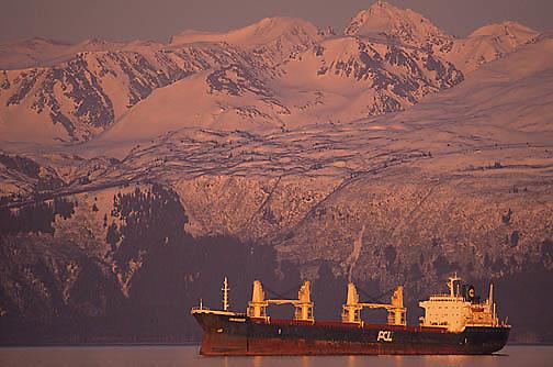 Industry, Ship moored in Kachemak Bay. Homer, Alaska.