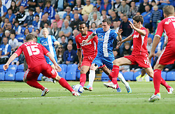 Peterborough United's Danny Swanson takes on the Crawley Town defence  - Photo mandatory by-line: Joe Dent/JMP - Tel: Mobile: 07966 386802 31/08/2013 - SPORT - FOOTBALL -  London Road Stadium - Peterborough - Peterborough United V Crawley Town - Sky Bet League One