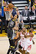 Golden State Warriors guard Shaun Livingston (34) dunks the ball against the Houston Rockets during Game 4 of the Western Conference Finals at Oracle Arena in Oakland, Calif., on May 22, 2018. (Stan Olszewski/Special to S.F. Examiner)