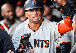 April 30, 2018 - San Francisco, CA, U.S. - SAN FRANCISCO, CA - APRIL 30: San Francisco Giants Outfield Gorkys Hernandez (7) celebrates with team mates after his RBI during the San Francisco Giants and San Diego Padres game on April 30, 2018 at AT&T Park in San Francisco, CA. (Photo by Stephen Hopson/Icon Sportswire) (Credit Image: © Stephen Hopson/Icon SMI via ZUMA Press)