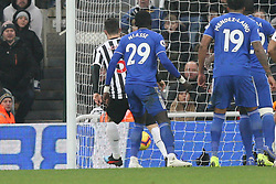 January 19, 2019 - Newcastle, England, United Kingdom - Newcastle United's Fabian Schar scoring his side's second goal during the Premier League match between Newcastle United and Cardiff City at St. James's Park, Newcastle on Saturday 19th January 2019. (Credit Image: © Mark Fletcher/NurPhoto via ZUMA Press)
