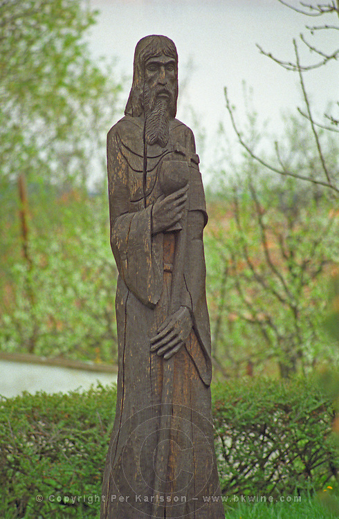 In the village Mad in Tokaj: A carved wooden sculpture with religious motive, typical for the region. Mad is one of the main villages in the Tokaj district.  Credit Per Karlsson BKWine.com
