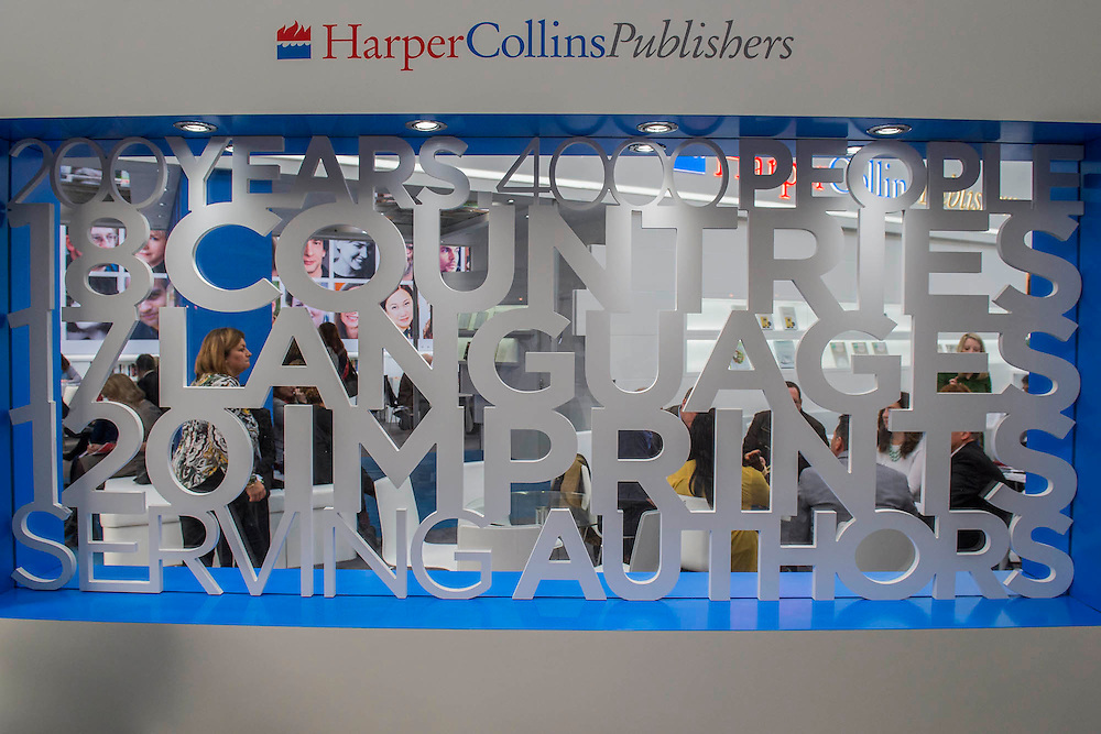 Rhe Harper Collins Stand - The London Book Fair, celebrating its 45 year anniversary, is the global marketplace for rights negotiation and the sale and distribution of content across print, audio, TV, film and digital channels. Staged annually, LBF sees more than 25,000 publishing professionals arrive in London for the week of the show to learn, network and kick off their year of business. The London Book Fair sits at the heart of London Book & Screen Week, and runs from the 12-14 April 2016.
