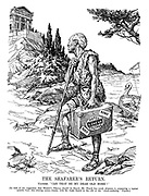 """The Seafarer's Return. Ulysses. """"Can that be my dear old home?"""" [In view of the suggestion that Homer's Odyssey should be filmed, Mr. Punch has much pleasure in presenting a topical episode from this stirring screen-drama, with Sir John Simon in the role of the """"much-enduring"""" Ulysses.)"""
