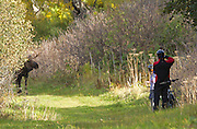 Alaska. Mountain bikers viewing bull moose (Alces alces) during fall at Kincaid Park, Anchorage.