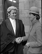 An Tanaiste Called To The Bar.  (P2)..1981..16.11.1981..11.16.1981..16th November 1981..An Tanaiste, Mr Michael O'Leary TD was called to the Bar at The Supreme Court in Dublin today...Photograph shows Mr Michael O'Leary being congratulated by his sister,Mrs John Long, after he was called to the Bar at the Supreme Court in Dublin.
