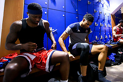 Jalan McCloud and Justin Gray of Bristol Flyers in the changing room - Photo mandatory by-line: Robbie Stephenson/JMP - 29/03/2019 - BASKETBALL - English Institute of Sport - Sheffield, England - Sheffield Sharks v Bristol Flyers - British Basketball League Championship