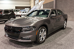 CHARLOTTE, NC, USA - November 11, 2015: Dodge Charger on display during the 2015 Charlotte International Auto Show at the Charlotte Convention Center in downtown Charlotte.