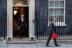 © Licensed to London News Pictures. 13/11/2018. London, UK. Secretary of State for Exiting the European Union Dominic Raab (R) and Secretary of State for International Trade Liam Fox (L) leave 10 Downing Street after the Cabinet meeting. Photo credit: Rob Pinney/LNP