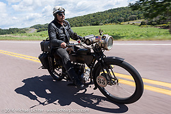 Andreas Kaindl of Germ on his 1913 Henderson during the Motorcycle Cannonball Race of the Century. Stage-2 from York, PA to Morgantown, WV. USA. Sunday September 11, 2016. Photography ©2016 Michael Lichter.