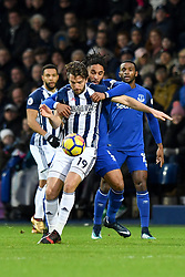 West Bromwich Albion's Jay Rodriguez and Everton's Ashley Williams compete for possession