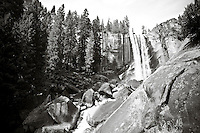 Waterfall pouring over cliffs with pine forest landscape, Yosemite, black and white. Landscape and nature fine art photography.