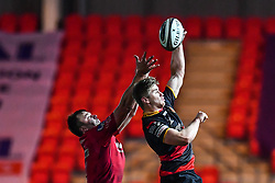 Dragons' Aaron Wainwright claims the lineout<br /> <br /> Photographer Craig Thomas/Replay Images<br /> <br /> Guinness PRO14 Round 13 - Scarlets v Dragons - Friday 5th January 2018 - Parc Y Scarlets - Llanelli<br /> <br /> World Copyright © Replay Images . All rights reserved. info@replayimages.co.uk - http://replayimages.co.uk