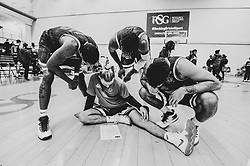 Fred Thomas of Bristol Flyers, Jordan Nicholls of Bristol Flyers, Justin Gray of Bristol Flyers and Lewis Champion of Bristol Flyers read the stats post match  - Photo mandatory by-line: Ryan Hiscott/JMP - 24/11/2018 - BASKETBALL - SGS Wise Arena - Bristol, England - Bristol Flyers v Worcester Wolves - British Basketball League Championship