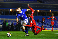 Rajiv van La Parra of Huddersfield Town goes down in the penalty box under a challenge from Michael Morrison of Birmingham City - Mandatory by-line: Robbie Stephenson/JMP - 06/02/2018 - FOOTBALL - St Andrew's Stadium - Birmingham, England - Birmingham City v Huddersfield Town - Emirates FA Cup fourth round proper