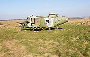 Westland Lynx helicopter wreck at Copehill Down FIBUA village military training area, Fighting In Built Up Areas, Wiltshire, England, UK