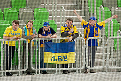 Fans of Ukraine during ice-hockey match between Ukraine and Great Britain at IIHF World Championship DIV. I Group A Slovenia 2012, on April 18, 2012 at SRC Stozice, Ljubljana, Slovenia. (Photo By Matic Klansek Velej / Sportida.com)