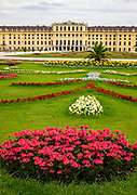 Garden view of the Shoenbrunn Palace in Vienna. Only one part of the massive facility.
