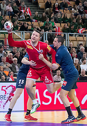 06.01.2019, Olympiaworld, Innsbruck, AUT, Österreich vs Griechenland, Continental Cup, im Bild v.l. Nikolaos Kritikos (GRE), Romas Kirveliavicius (AUT), Marios-Alexandros Moraitis (GRE), Ante Esegovic (AUT) // v.l. Nikolaos Kritikos (GRE), Romas Kirveliavicius (AUT), Marios-Alexandros Moraitis (GRE), Ante Esegovic (AUT) during the handball Continental Cup match between Austria and Griechenland at the Olympiaworld in Innsbruck, Austria on 2019/01/06. EXPA Pictures © 2019, PhotoCredit: EXPA/ Johann Groder