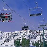 """The """"Virginia City"""" chairlift takes skiers up the mountain."""