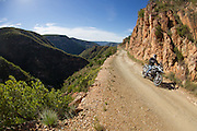 The all-new R1200GS Adenture was launched to relevant South African media 7-11 April 2014. Journalists rode the adventure motorcycles from Port Elizabeth trhough the Baviaanskloof to overnight at Tsala treetops lodge near Knysna. A tar route via Natures Valley and Storms River Mouth followed on the second day, finishing in Port Elizabeth. Image by Greg Beadle