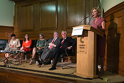 © Licensed to London News Pictures. 27/08/2019. London, UK. Leader of Change UK Anna Soubry speaks alongside Shadow Chancellor John McDonnell, SNP Westminster Leader Ian Blackford, Plaid Cymru Westminster Leader Liz Saville-Roberts, Lib Dem Leader Jo Swinson and Green Party MP Caroline Lucas at an event at Church House. MPs and party leaders have signed the 'Church House Declaration' to assert their commitment to avoiding a no deal exit from the EU. Photo credit: Rob Pinney/LNP