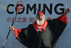October 28, 2017 - Shanghai, China - Dieter 'Didi' Senft, a German cycling fan known as the Didi the Devil or El Diablo, during the 1st TDF Shanghai Criterium 2017 - Media Day..On Saturday, 28 October 2017, in Shanghai, China. (Credit Image: © Artur Widak/NurPhoto via ZUMA Press)