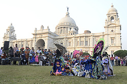 November 22, 2018 - Kolkata, West Bengal, India - Artists from Baghmundi of Purulia district perform traditional Chau Nach or dance on the occasion of World Heritage Week celebration in Victoria Memorial. (Credit Image: © Saikat Paul/Pacific Press via ZUMA Wire)