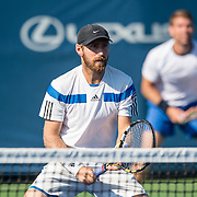 August 24, 2016, New Haven, Connecticut: <br /> Nicolas Meister and Eric Quigley in action during the US Open National Playoffs men's doubles finals on Day 6 of the 2016 Connecticut Open at the Yale University Tennis Center on Wednesday, August  24, 2016 in New Haven, Connecticut. <br /> (Photo by Billie Weiss/Connecticut Open)