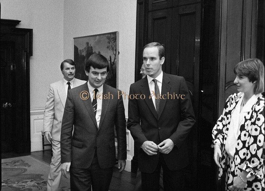 Prince Albert of Monaco at Iveagh House.1986..19.09.1986..09.19.1986.19th September 1986..Prince Albert of Monaco visited Iveagh House,Dublin as part of his visit to Ireland. He was welcomed by Minister of State at the Dept.,of Foreign Affairs,Mr George Bermingham T.D...Picture shows Prince Albert arriving at Iveagh House and being welcomed by Minister of State at the Dept.,of Foreign Affairs,Mr George Bermingham T.D. included in the picture is Mr Berminghams' wife Myra.