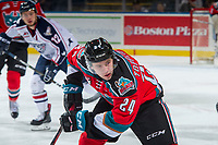 KELOWNA, CANADA - OCTOBER 27: Kyle Topping #24 of the Kelowna Rockets skates against the Tri-City Americans on October 27, 2017 at Prospera Place in Kelowna, British Columbia, Canada.  (Photo by Marissa Baecker/Shoot the Breeze)  *** Local Caption ***