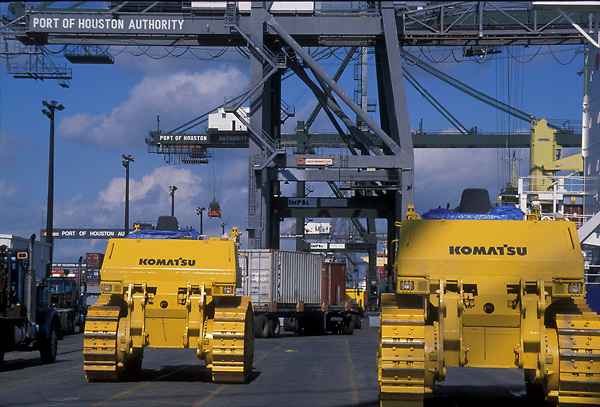 Machinery for moving shipping containers at the Port of Houston