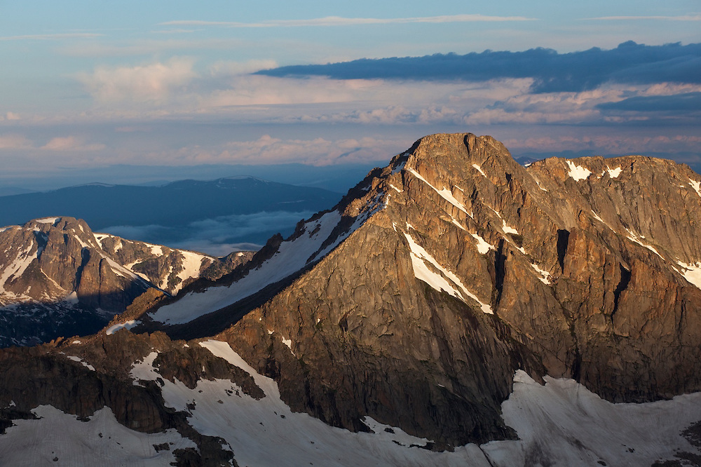 McHenrys Peak at sunrise, from Longs Peak, Rocky Mountain National Park, Colorado.