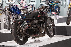 Ross Tomas' 1947 Indian Chief racer with an 88 inch Kiwi Flathead engine in the Old Iron - Young Blood exhibition in the Motorcycles as Art gallery at the Buffalo Chip during the annual Sturgis Black Hills Motorcycle Rally. Sturgis, SD, USA. Wednesday August 9, 2017. Photography ©2017 Michael Lichter.