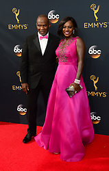 September 18, 2016 - Los Angeles, CA, USA - Julius Tennon, left, and Viola Davis arrive at the 68th Annual Emmy Awards at the Microsoft Theater in Los Angeles, California on Sunday, September 18, 2016. (Credit Image: © Michael Owen Baker/Los Angeles Daily News via ZUMA Wire)