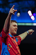 SuperChin, Daryl Gurney celebrating after his win during the Darts World Championship 2018 at Alexandra Palace, London, United Kingdom on 18 December 2018.