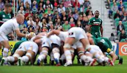 Leicester Tigers winger Vereniki Goneva watches a scrum - Photo mandatory by-line: Patrick Khachfe/JMP - Tel: Mobile: 07966 386802 - 08/09/2013 - SPORT - RUGBY UNION - Welford Road Stadium - Leicester Tigers v Worcester Warriors - Aviva Premiership.