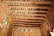 Africa, Ethiopia, Gondar, Painted ceiling in the Church of Debre Birhan Selassie, painting of 80 cherubic faces,