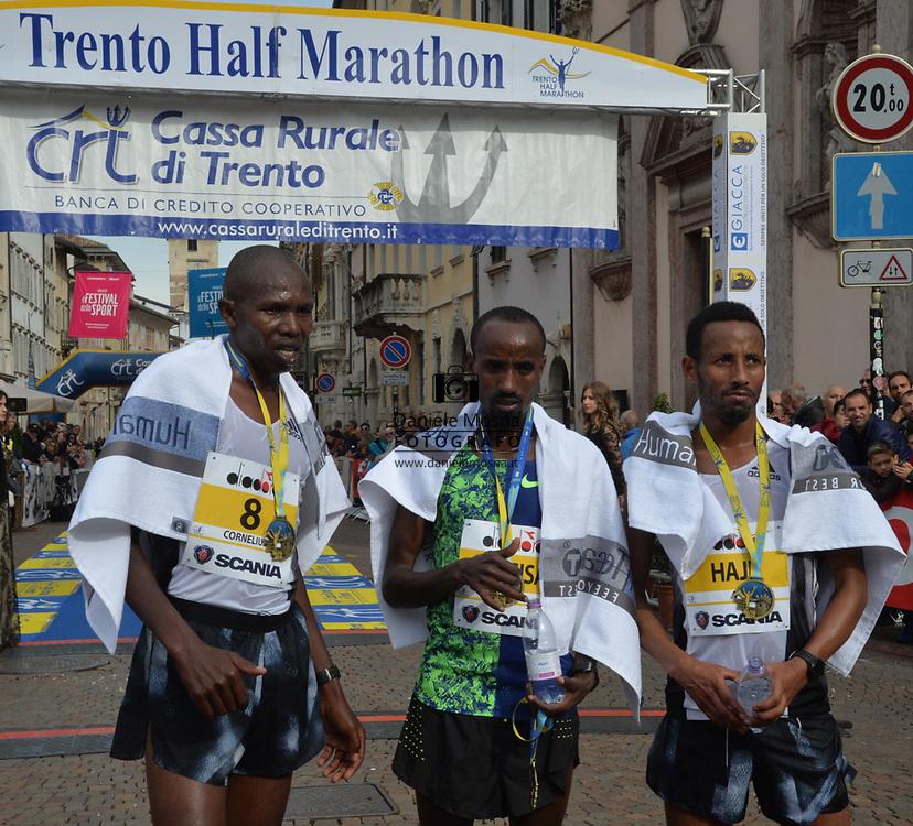 9ª Semi Maratona di Trento Half Marathon - 6 ottobre 2019 –  Corsa su strada internazionale -  06.10.2019, Trento, Trentino, Italia. Arrivo, podium 8, Mosisa, Haji<br /> © Daniele Mosna WWW.DANIELEMOSNA.IT