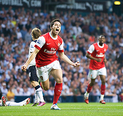 20.04.2011, White Hart Lane, London, ENG, PL, Totthenham Hotspurs vs Arsenal FC, im Bild Arsenal's Samir Nasri celebrates scoring the second goal against Tottenham Hotspur during the Premiership match at White Hart Lane, EXPA Pictures © 2011, PhotoCredit: EXPA/ Propaganda/ D. Rawcliffe *** ATTENTION *** UK OUT!