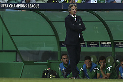 August 15, 2017 - Lisbon, Portugal - Sporting's coach Jorge Jesus reacts during the UEFA Champions League  football match between Sporting CP and Steaua Bucuresti at Alvalade  Stadium in Lisbon on August 15, 2017. (Credit Image: © Carlos Costa/NurPhoto via ZUMA Press)