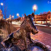 Sculpture along 47th Street in Kansas City, Missouri. Plaza Lights lit up for the holiday season.
