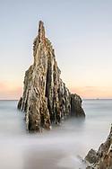 Sea stack at sunrise, Asturias, Spain<br /> <br /> Felsnadel im Meer bei Sonnenaufgang, Asturien, Spanien