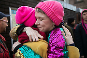 The Stansted 15 are sentenced at Chelmsford Crown court, 6th of February 2019, Chelmsford, United Kingdom. A supporter hugs one of the defendants. The defendants and supporters gather outside the court. The group of fifteen activists stopped a Home Office deportation charter flight in Stansted in 2017. The activists were charged under the terrorism law and 12 were sentenced community service and 3 were sentenced suspended 9 months prison sentences.