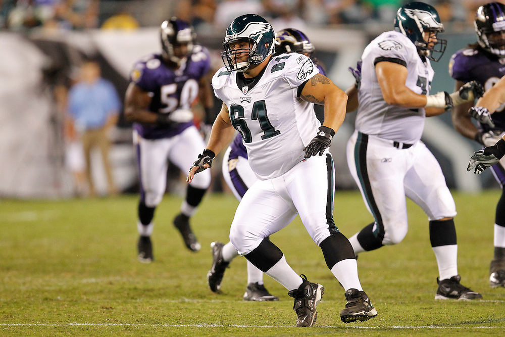 Philadelphia Eagles center A.Q. Shipley  #61 during the preseason game between the Baltimore Ravens and the Philadelphia Eagles. The Eagles won 13-6 at Lincoln Financial Field in Philadelphia, Pennsylvania on Thursday August 11th 2011. (Photo By Brian Garfinkel)