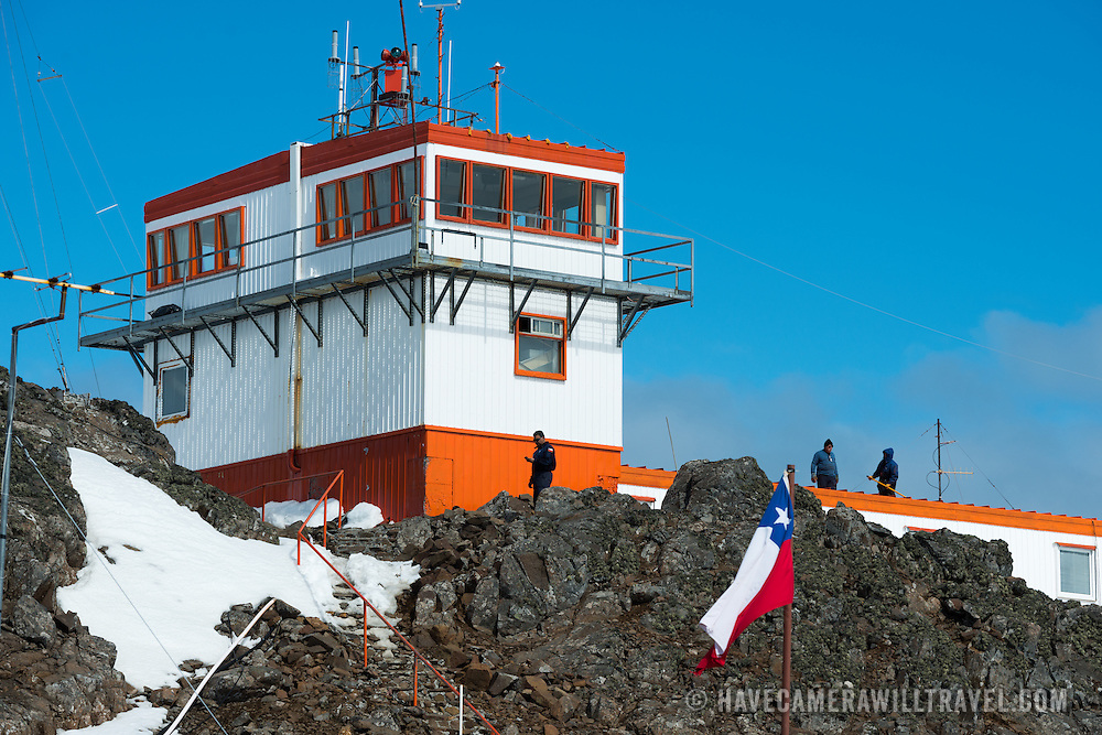 The air traffic control tower for the airport at Base Presidente Eduardo Frei Montalva on King George Island in Antarctica.