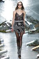 Mina Cvetkovic (WOMEN) walks the runway wearing Rodarte Fall 2015 during Mercedes-Benz Fashion Week in New York on February 17, 2015