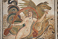 Close up picture of a Roman mosaics design depicting a Nymph lying on a sea horse, from the ancient Roman city of Thysdrus. 3rd century AD, House of Dolphins. El Djem Archaeological Museum, El Djem, Tunisia. .<br /> <br /> If you prefer to buy from our ALAMY PHOTO LIBRARY  Collection visit : https://www.alamy.com/portfolio/paul-williams-funkystock/roman-mosaic.html  . Type -   El Djem   - into the LOWER SEARCH WITHIN GALLERY box. Refine search by adding background colour, place, museum etc<br /> <br /> Visit our ROMAN MOSAIC PHOTO COLLECTIONS for more photos to download  as wall art prints https://funkystock.photoshelter.com/gallery-collection/Roman-Mosaics-Art-Pictures-Images/C0000LcfNel7FpLI
