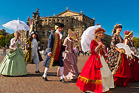 Procession of the Royal Court of August the Strong (reenactment in historical costume) with the Semper Opera House in background, Theaterplatz, Dresden, Saxony, Germany
